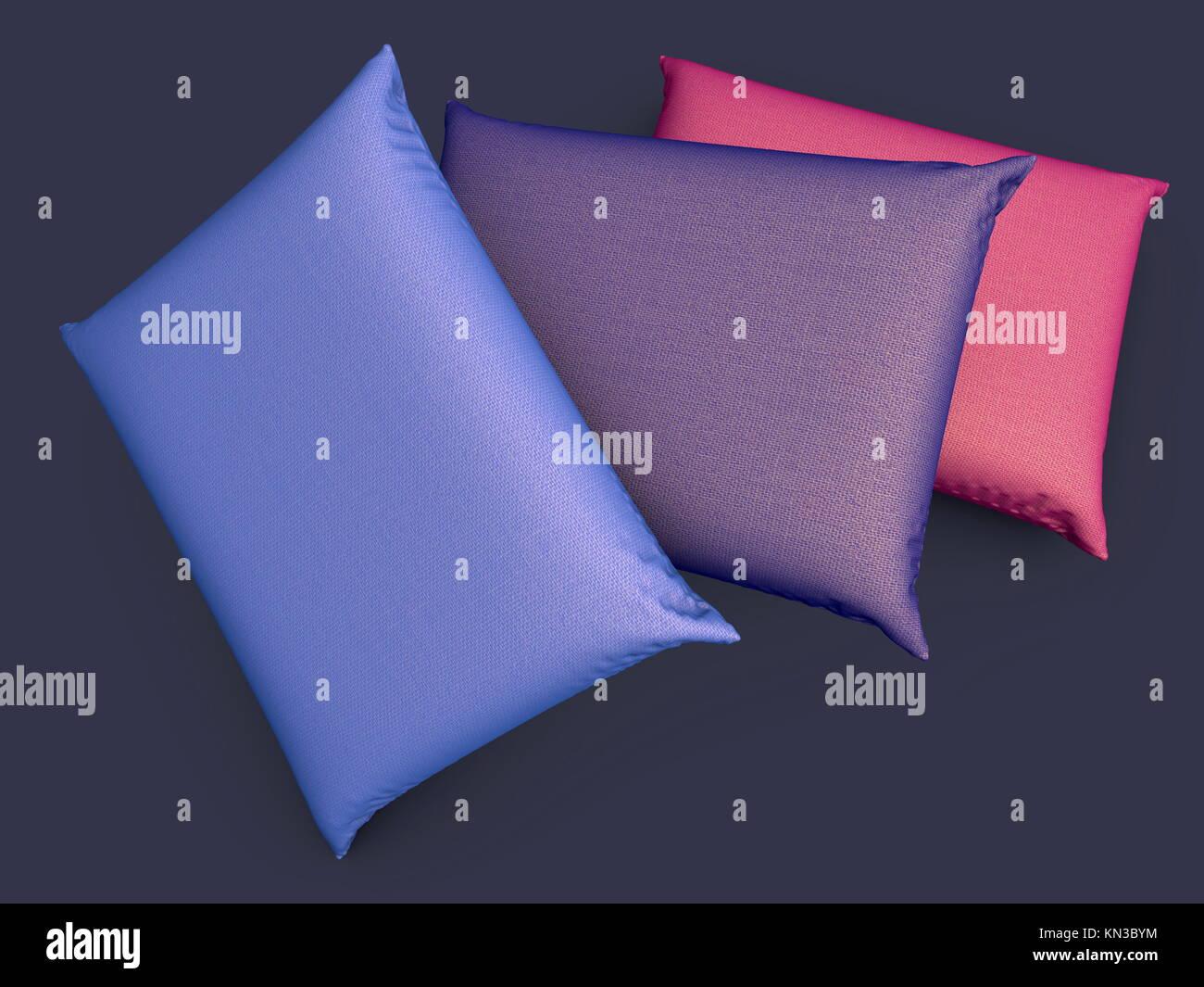 Three Pillows. 3D rendered Illustration. - Stock Image