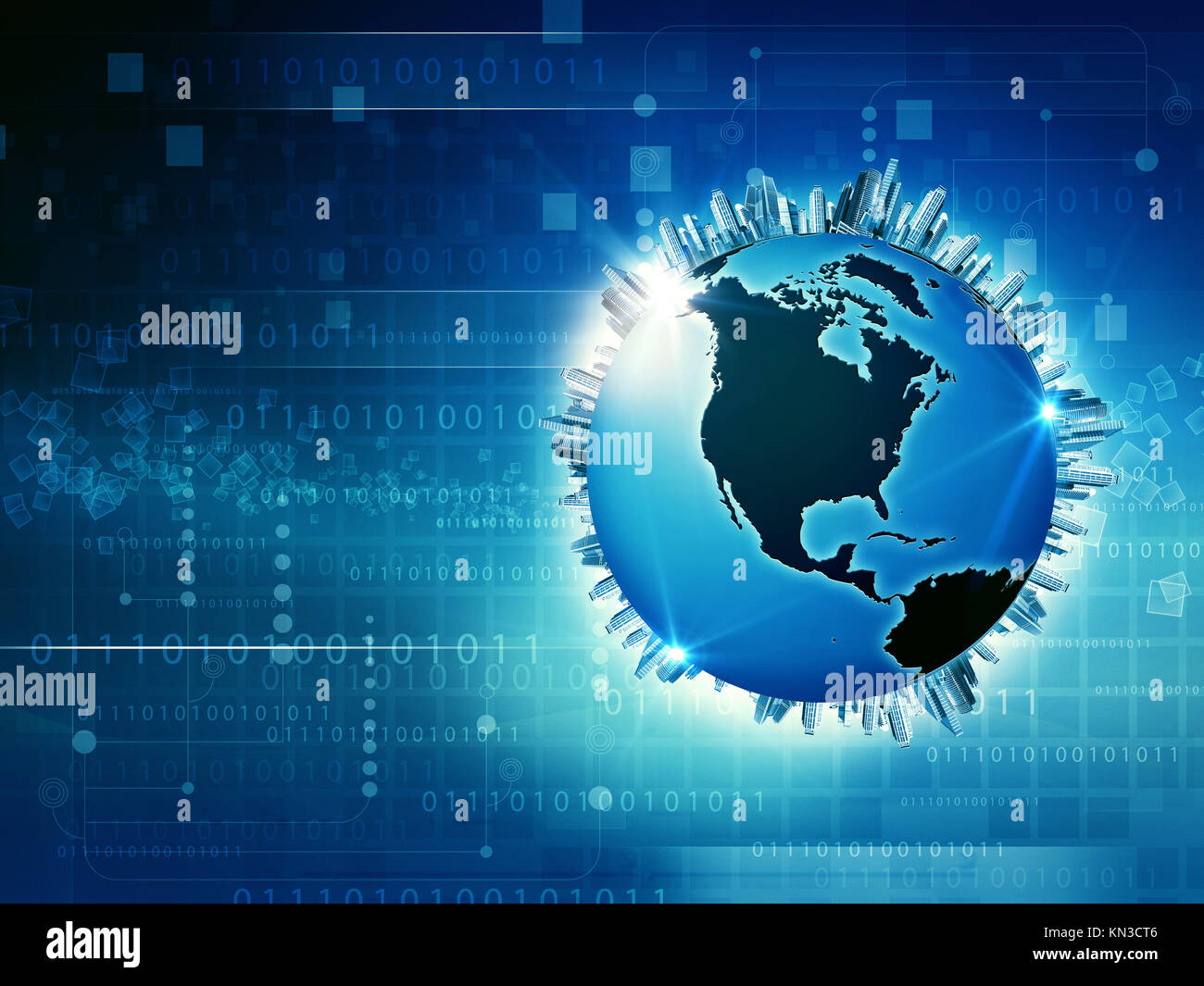 Global Media and Information Society, abstract techno backgrounds. - Stock Image