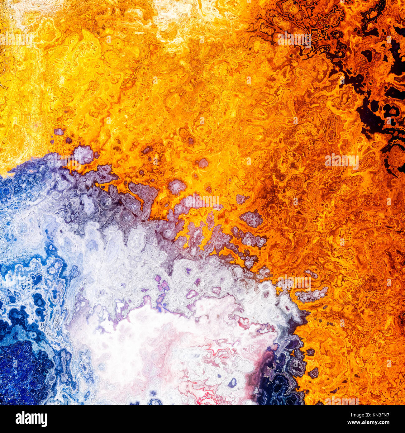 Silver gold liquid blend layers, abstract background illustration Stock Photo