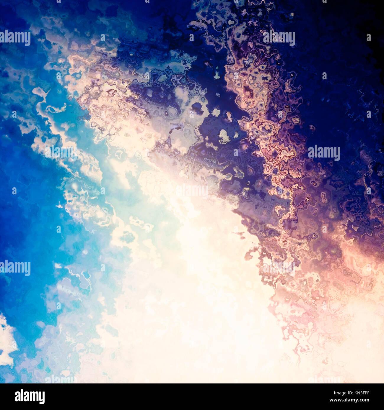 Bright light splash blue sky, abstract background illustration Stock Photo