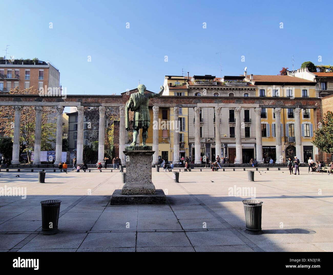 Colonne di San Lorenzo - famous ancient landmark in Milan, Lombardy, Italy. Stock Photo