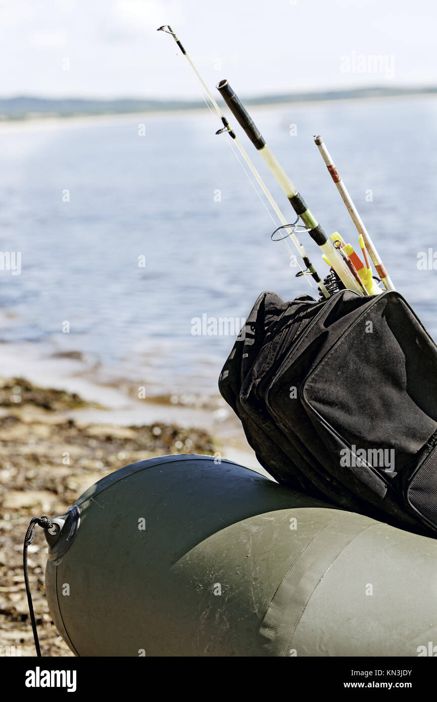 Fishing gear in an inflatable boat after fishing. Vladivostok, Russia. - Stock Image