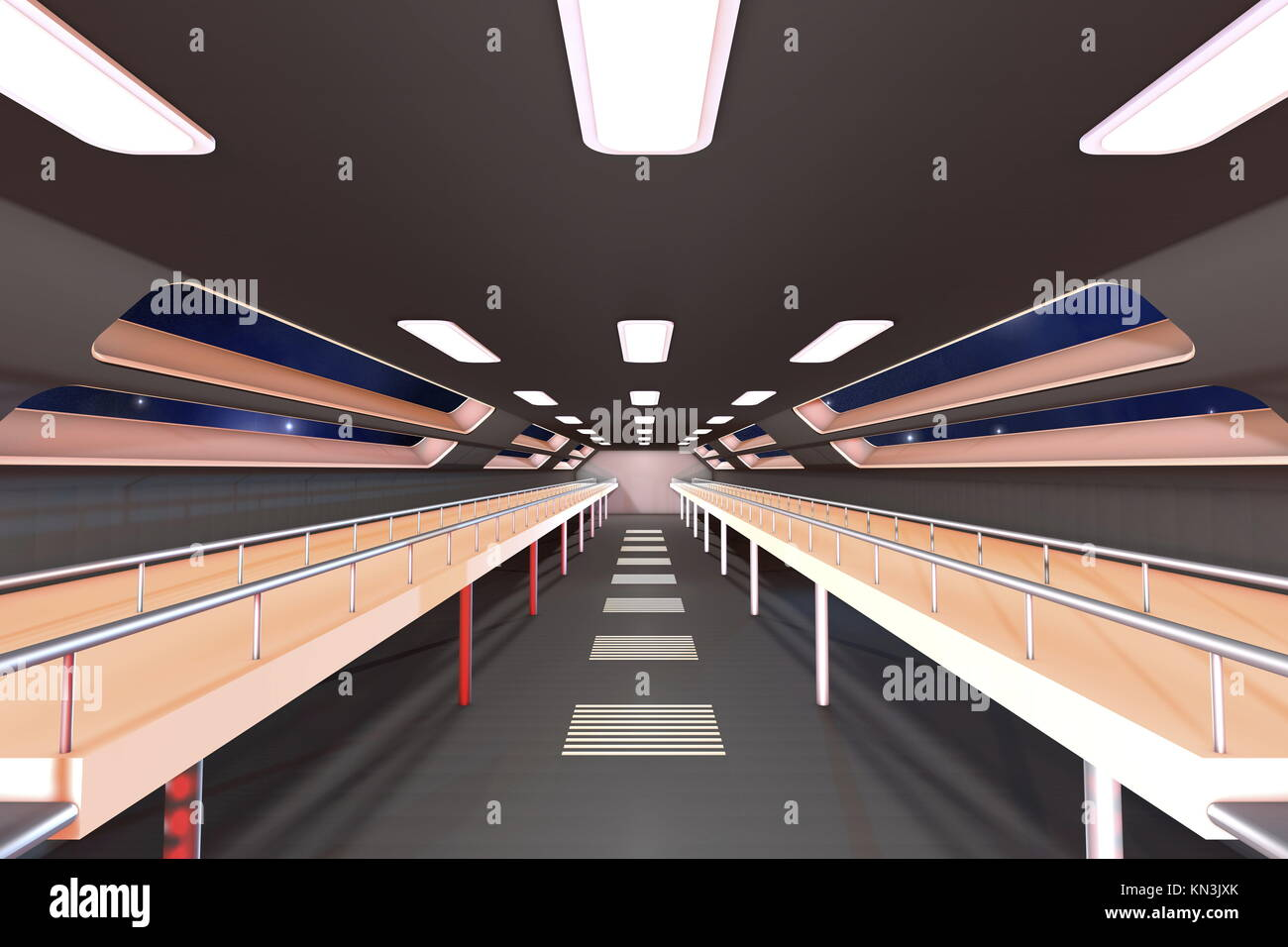 Space station Interior. 3D Architecture visualization. - Stock Image