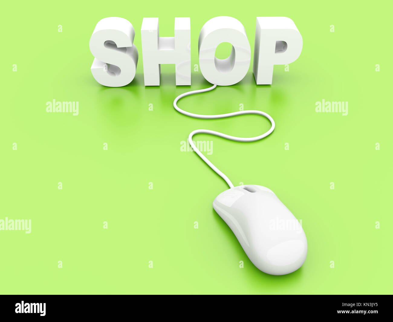 Buy at the Online shop. 3D rendered Illustration. Stock Photo
