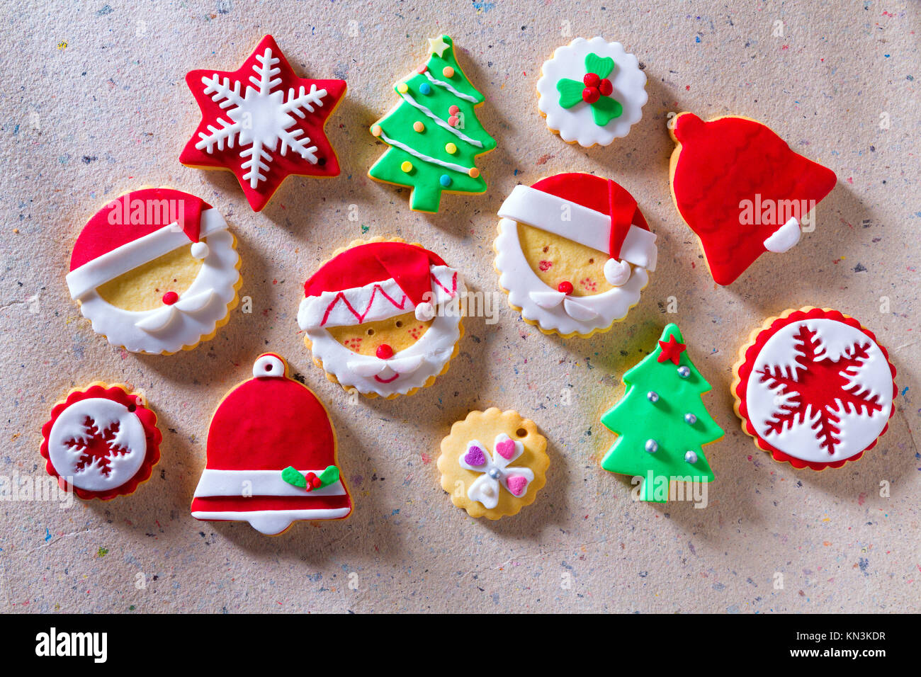 Christmas Cookies Xmas Tree Santa Snowflake On Recycled Paper Stock