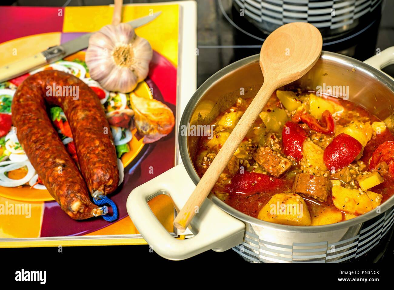 Spanish stew with chorizo sausage. - Stock Image