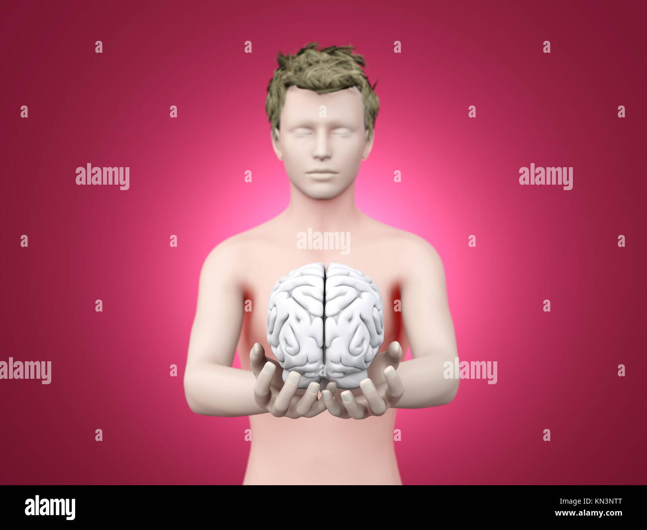 Holding a brain. 3D rendered illustration. - Stock Image