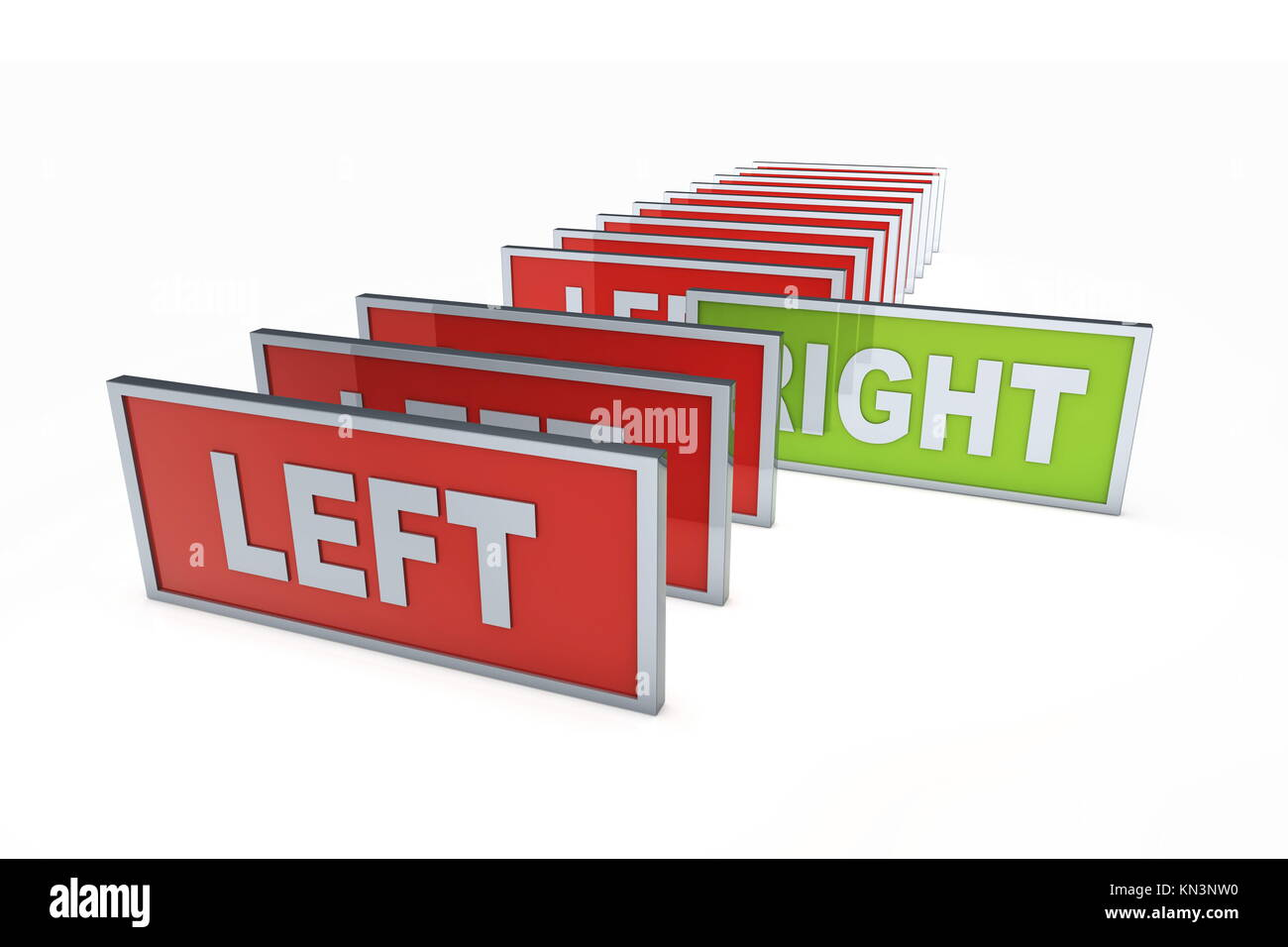 Left and right. Political directions. 3D rendered illustration, Isolated on white. - Stock Image