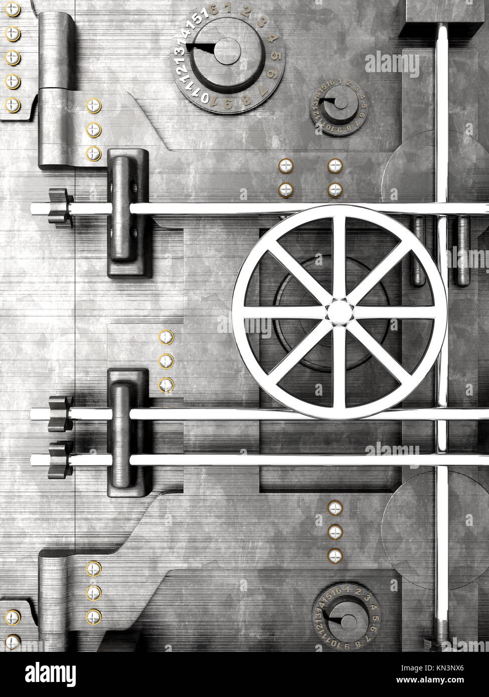 3D rendered Illustration. A bank vault door. - Stock Image
