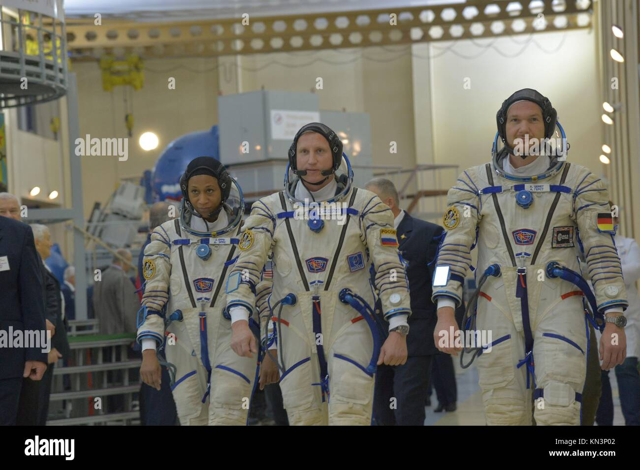 NASA International Space Station Expedition 54-55 backup crew members (L-R) American astronaut Jeanette Epps, Russian Stock Photo