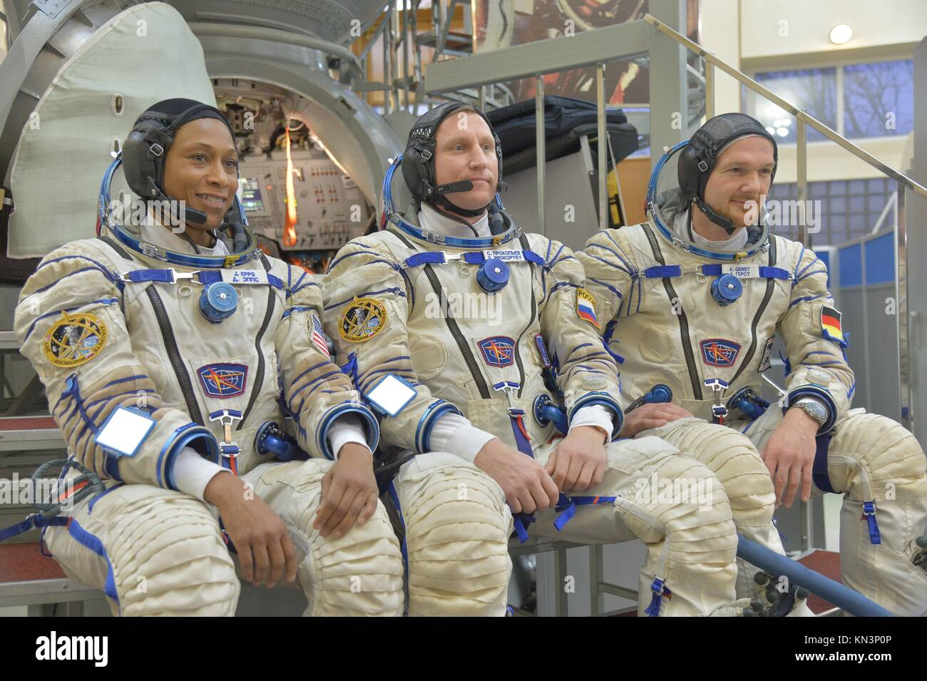 NASA International Space Station Expedition 54-55 backup crew members (L-R) American astronaut Jeanette Epps, Russian - Stock Image