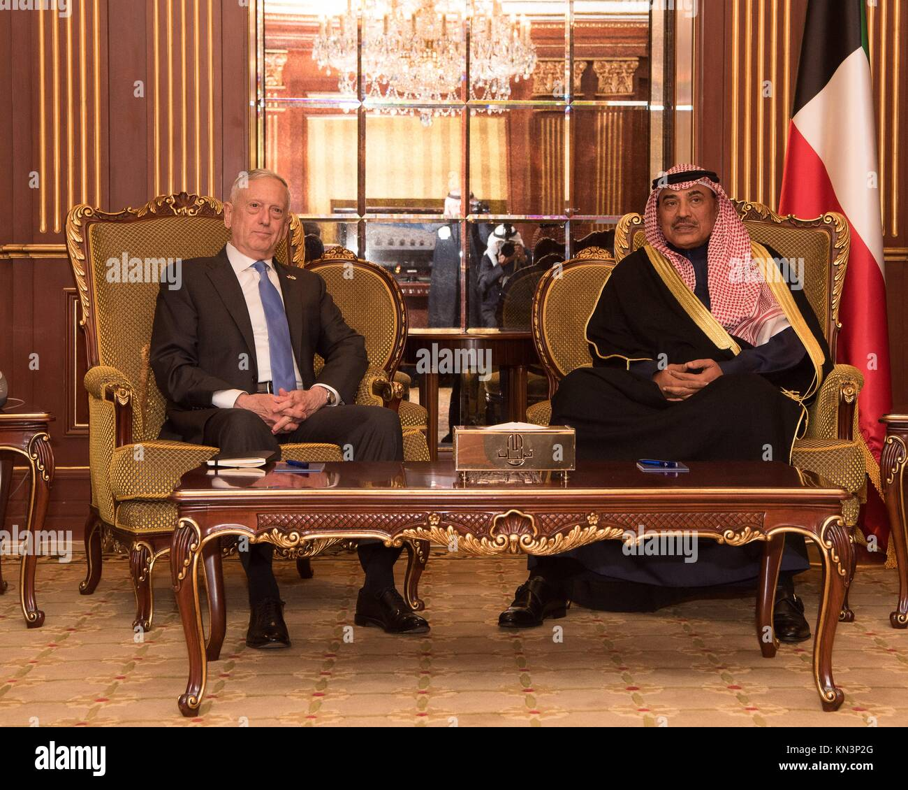 U.S. Defense Secretary James Mattis (left) meets with Kuwaiti Foreign Affairs Minister Sabah Khalid Al Hamad Al - Stock Image