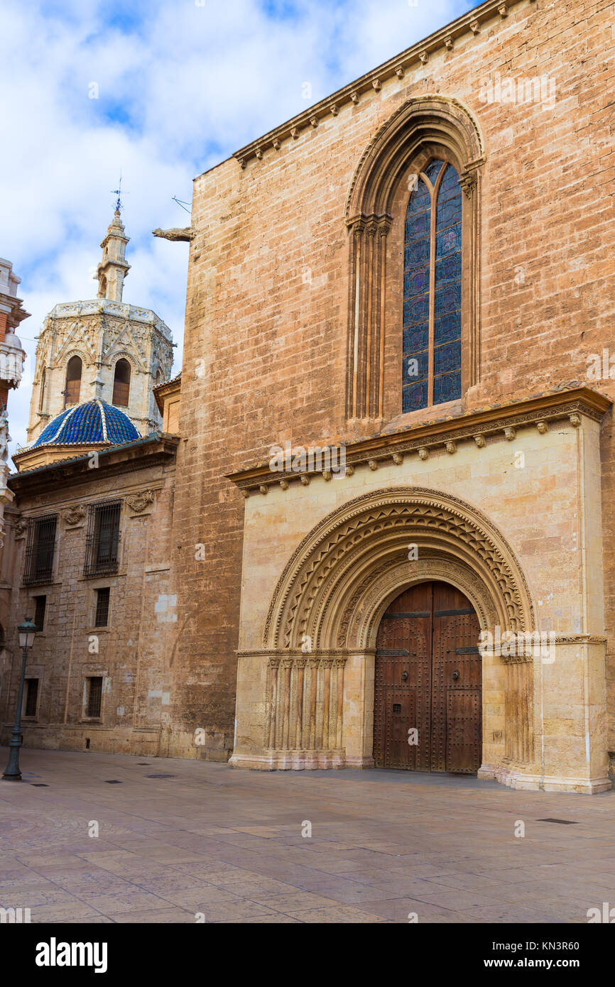 Valencia Romanesque Palau door of Cathedral in Spain with Miguelete. Stock Photo