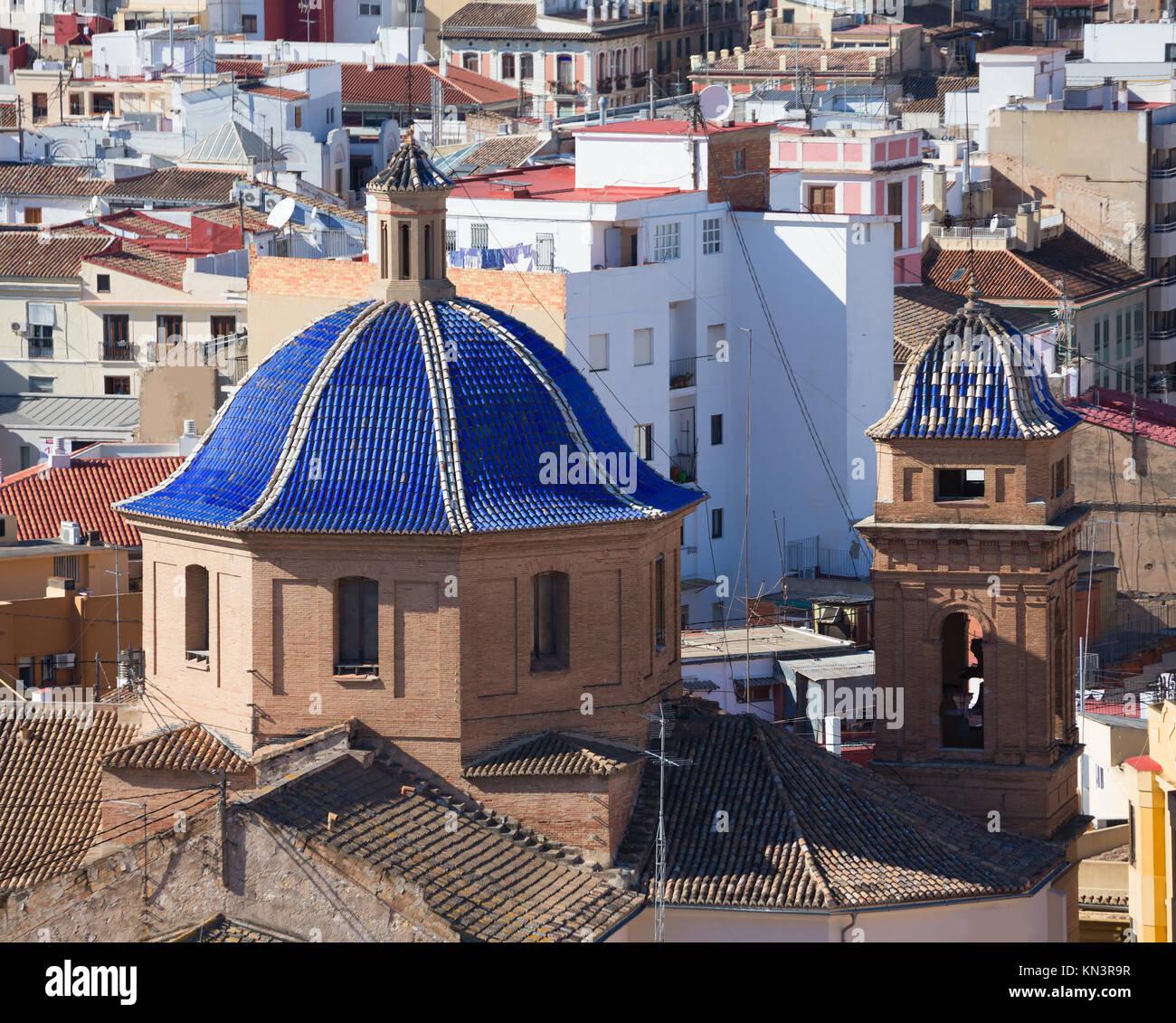 Valencia aerial skyline from el Miguelete Compania de Jesus Jesuitas church. Stock Photo