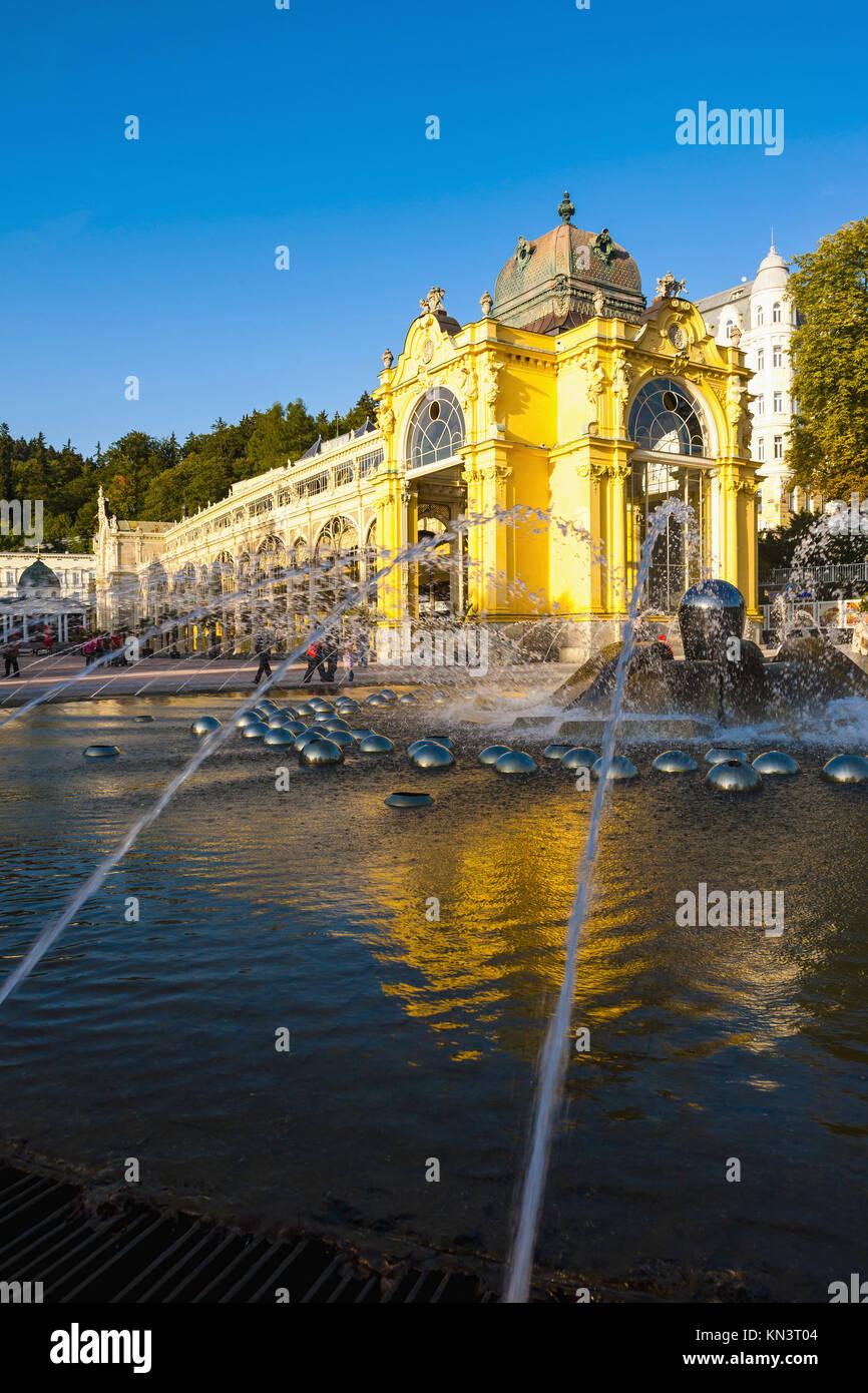 Colonnade with Singing fountain, Marianske Lazne (Marienbad), Czech Republic. - Stock Image