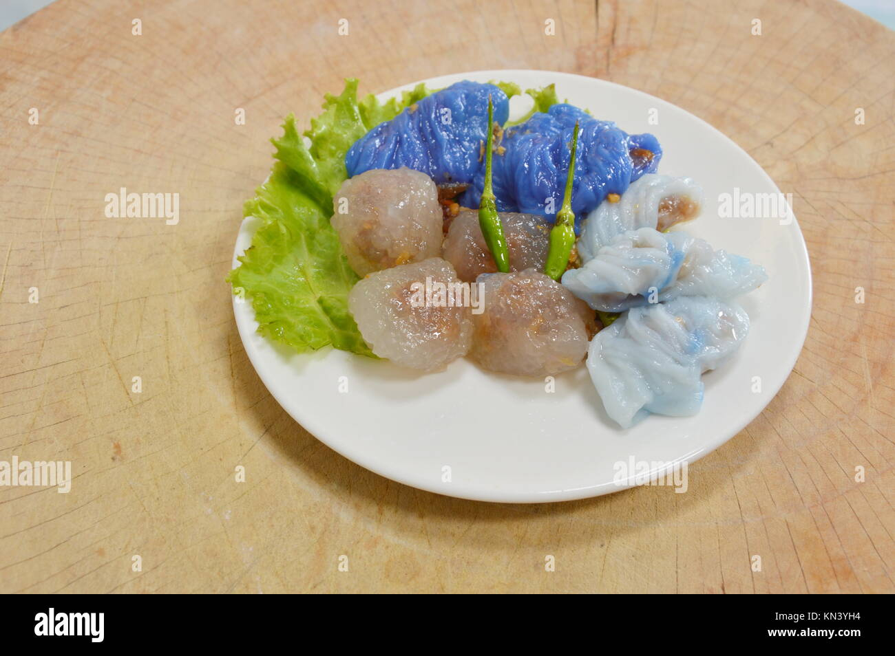 steamed rice skin dumplings and tapioca balls with pork filling - Stock Image