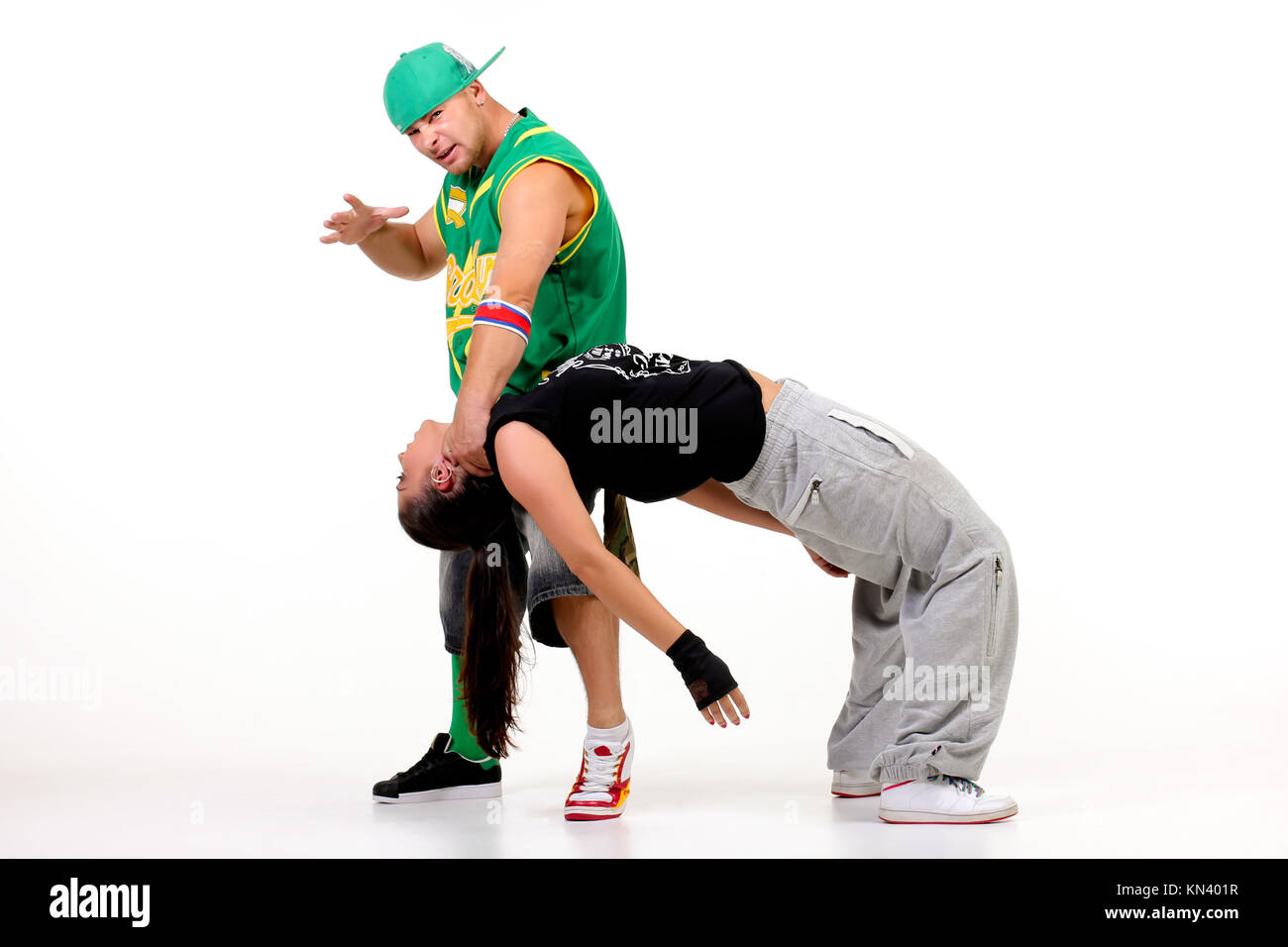 Hip hop couple posing. Stock Photo