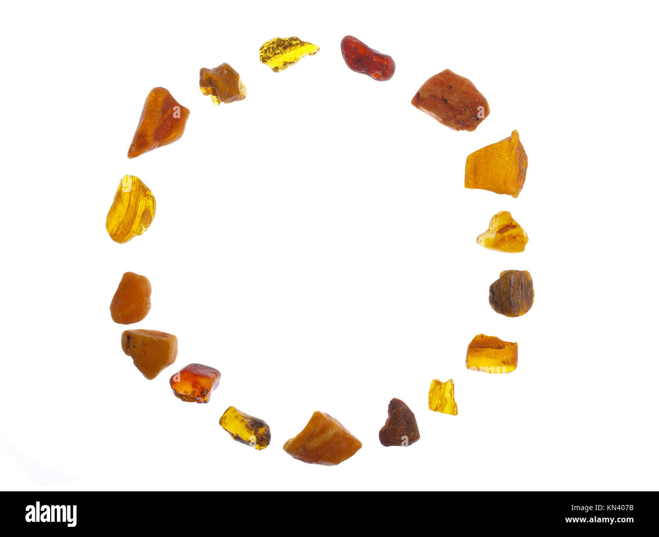 Amber, stone on white background, studio isolated photo. - Stock Image
