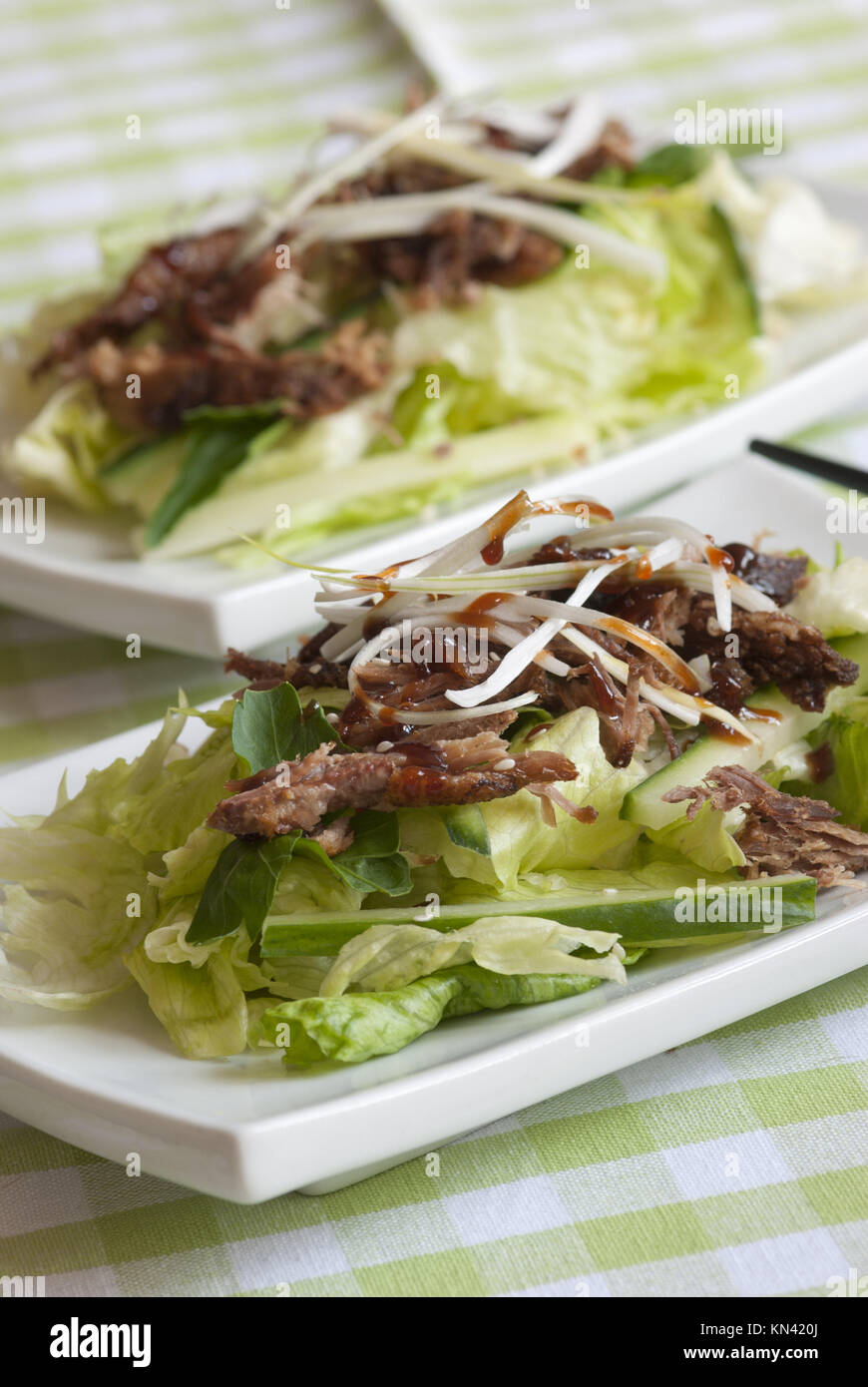 Crispy duck in hoisin sauce with lettuce and cucumber. - Stock Image