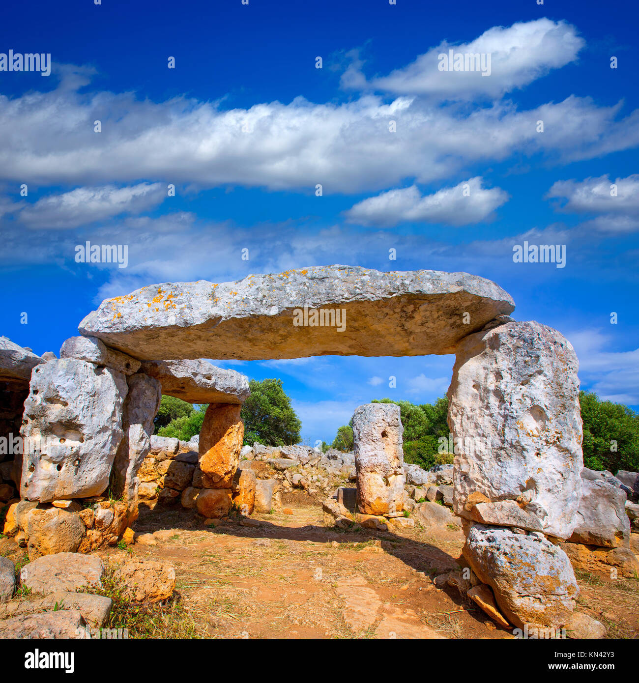 Taules of Menorca Torre de en Gaumes Galmes at Balearic islands of Spain. - Stock Image