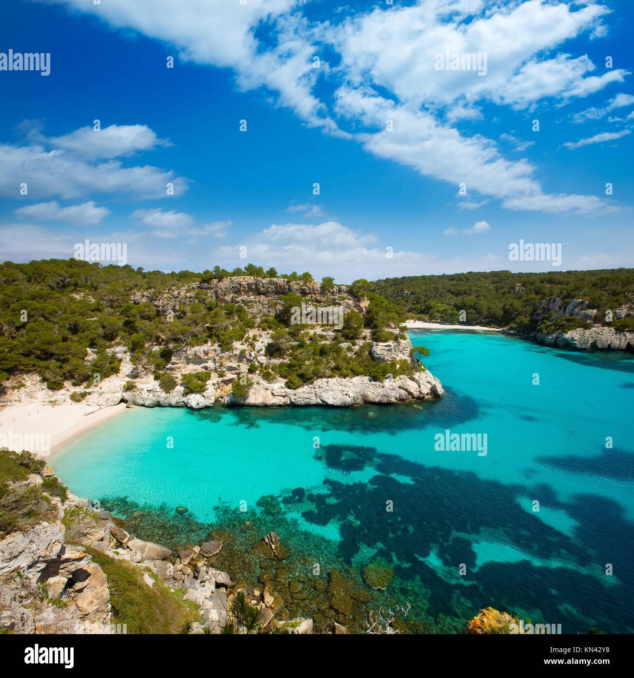 Cala Macarelleta in Ciutadella Menorca at turquoise Balearic Islands Mediterranean sea. - Stock Image