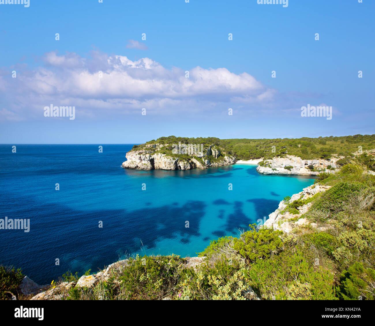 Cala Macarella and Macarelleta Ciutadella in Menorca Mediterranean Balearic islands. - Stock Image
