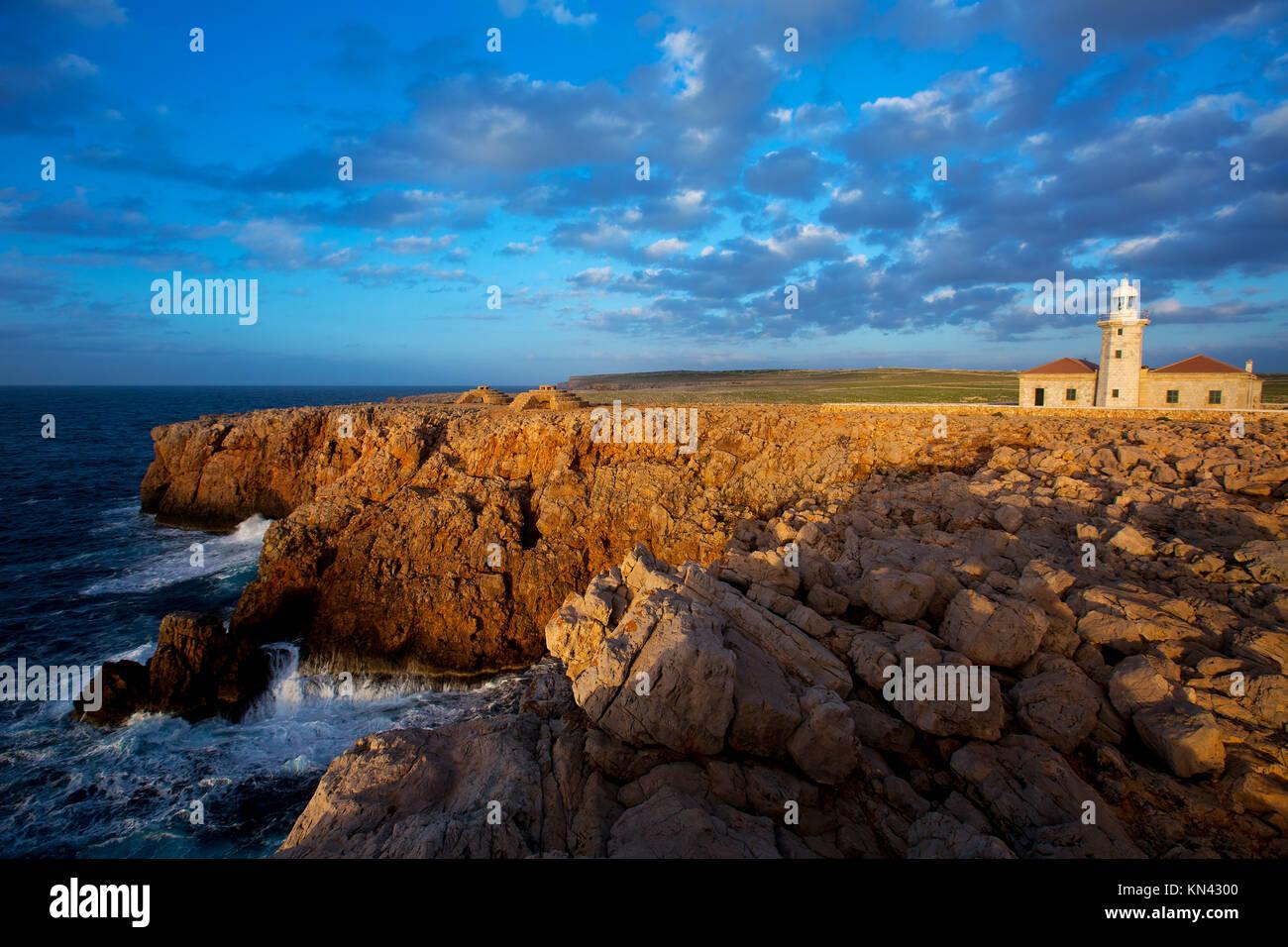 Menorca Punta Nati Faro lighthouse in Ciutadella Balearic Islands of Spain. - Stock Image