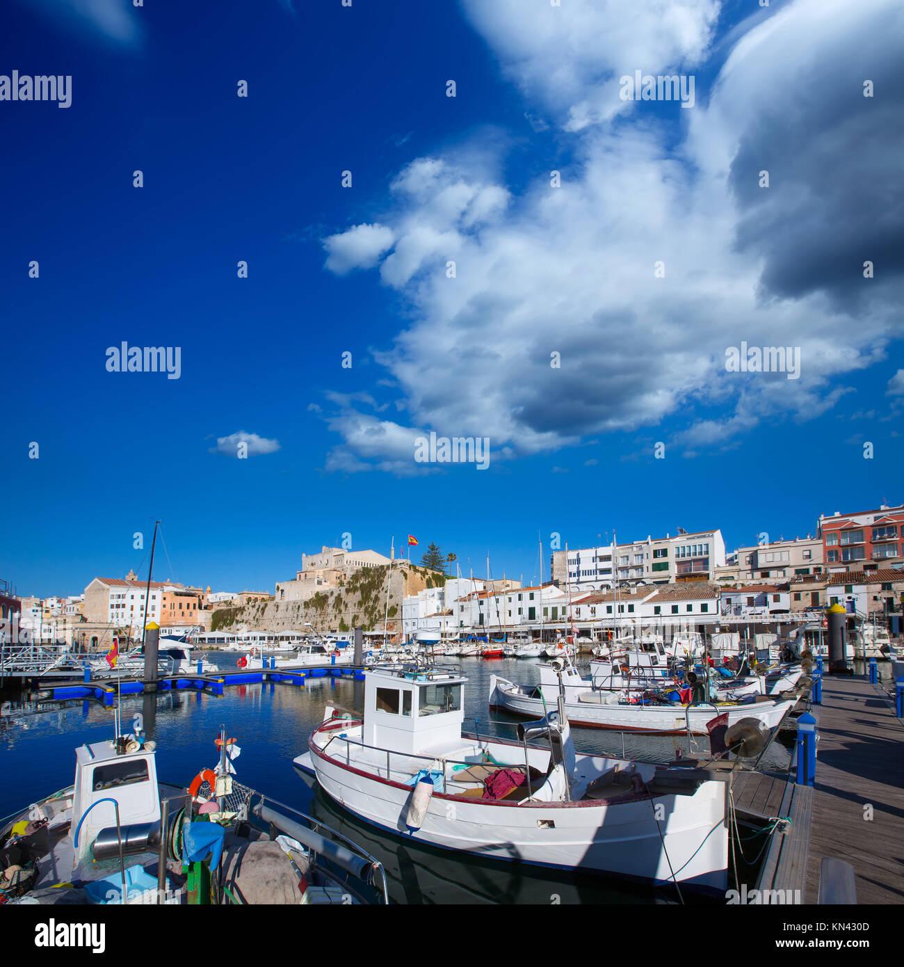 Ciutadella Menorca marina Port view and Ayuntamiento Town hall Balearic Islands. - Stock Image