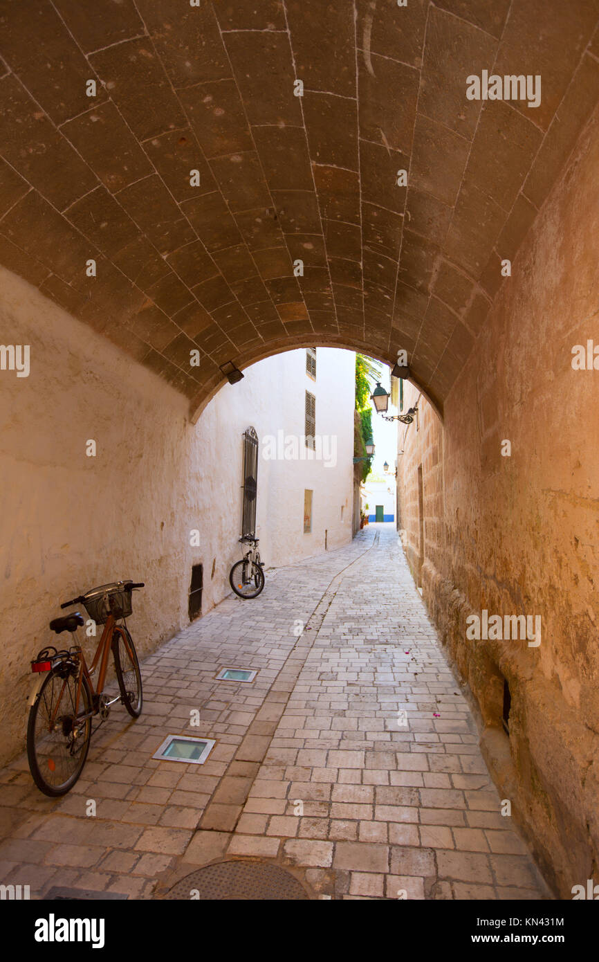 Menorca Ciutadella carrer del Palau barrel vault passage at Balearic islands. - Stock Image