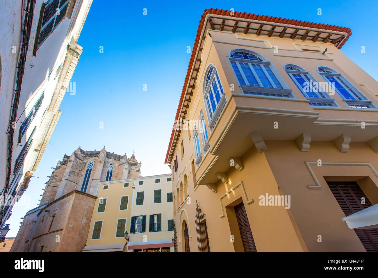 Ciutadella Menorca Cathedral at Ciudadela downtown in Balearic islands. - Stock Image
