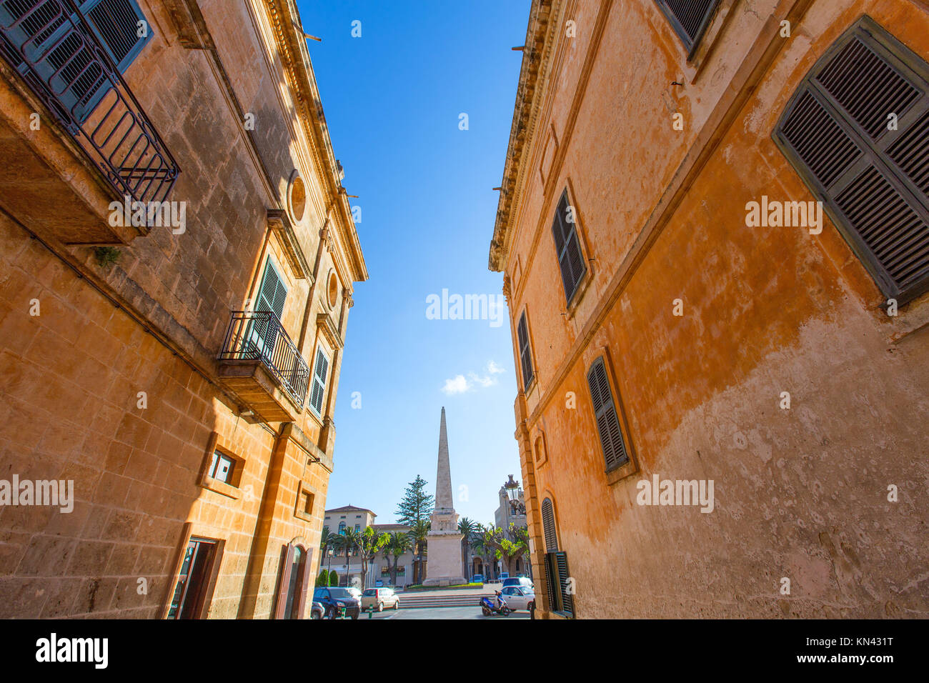 Ciutadella Menorca Placa des Born in downtown Ciudadela at Balearic islands. - Stock Image