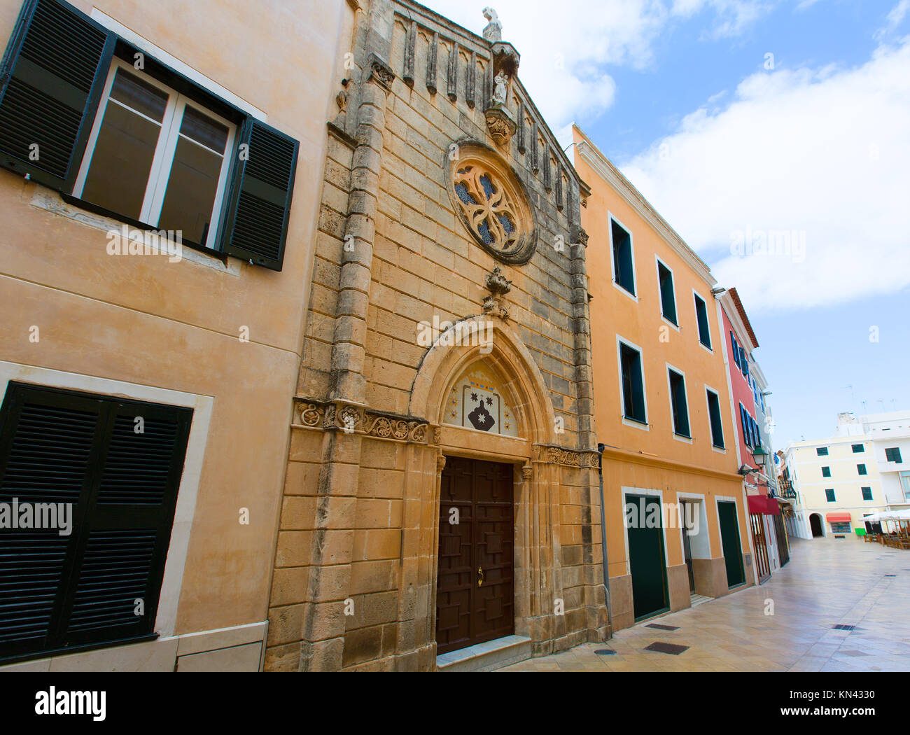 Ciutadella Menorca carrer Mao church downtown in Ciudadela Balearic Islands. - Stock Image