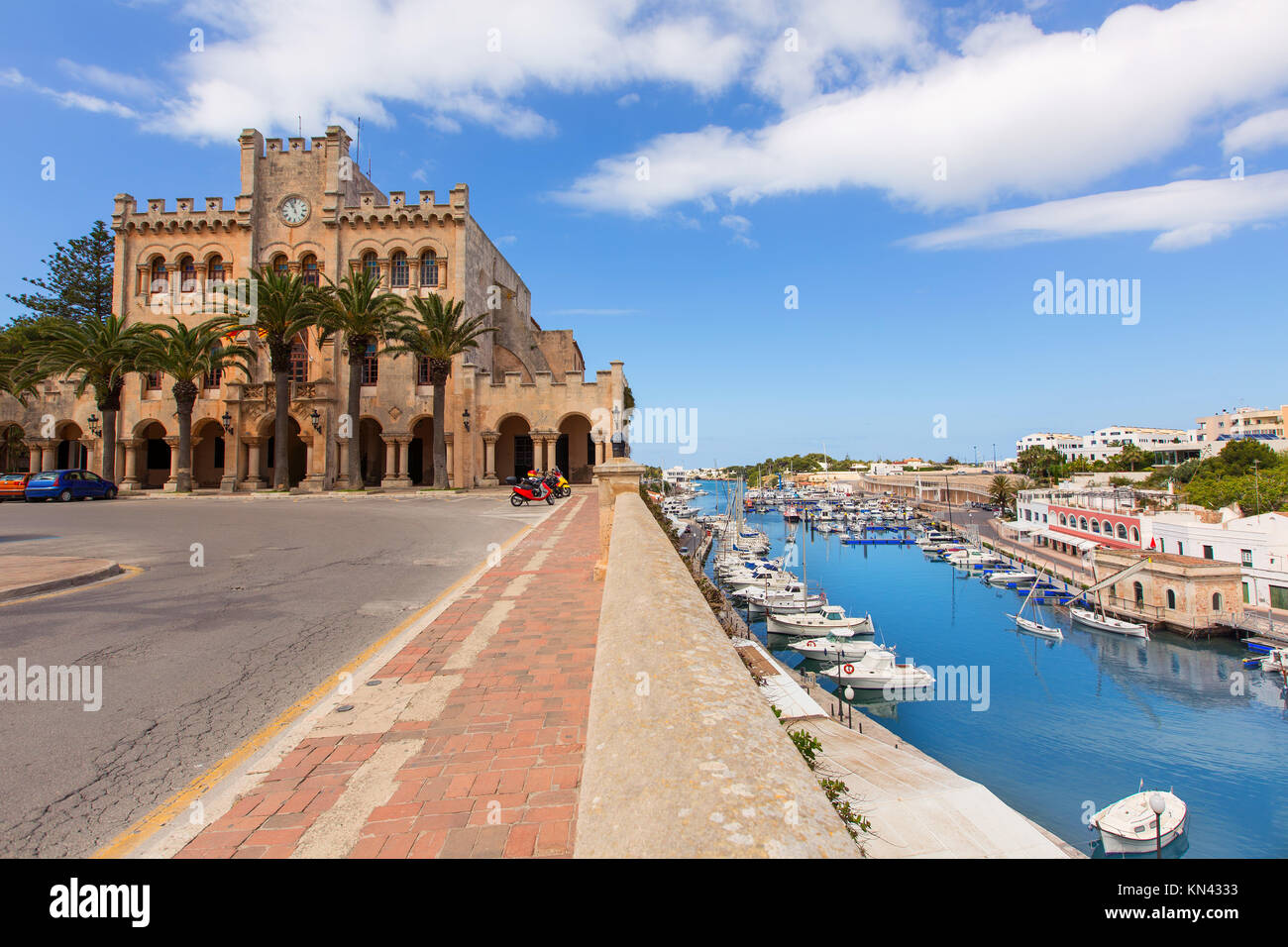 Ciutadella Menorca city Town Hall and Port in Ciudadela at Balearic islands. - Stock Image