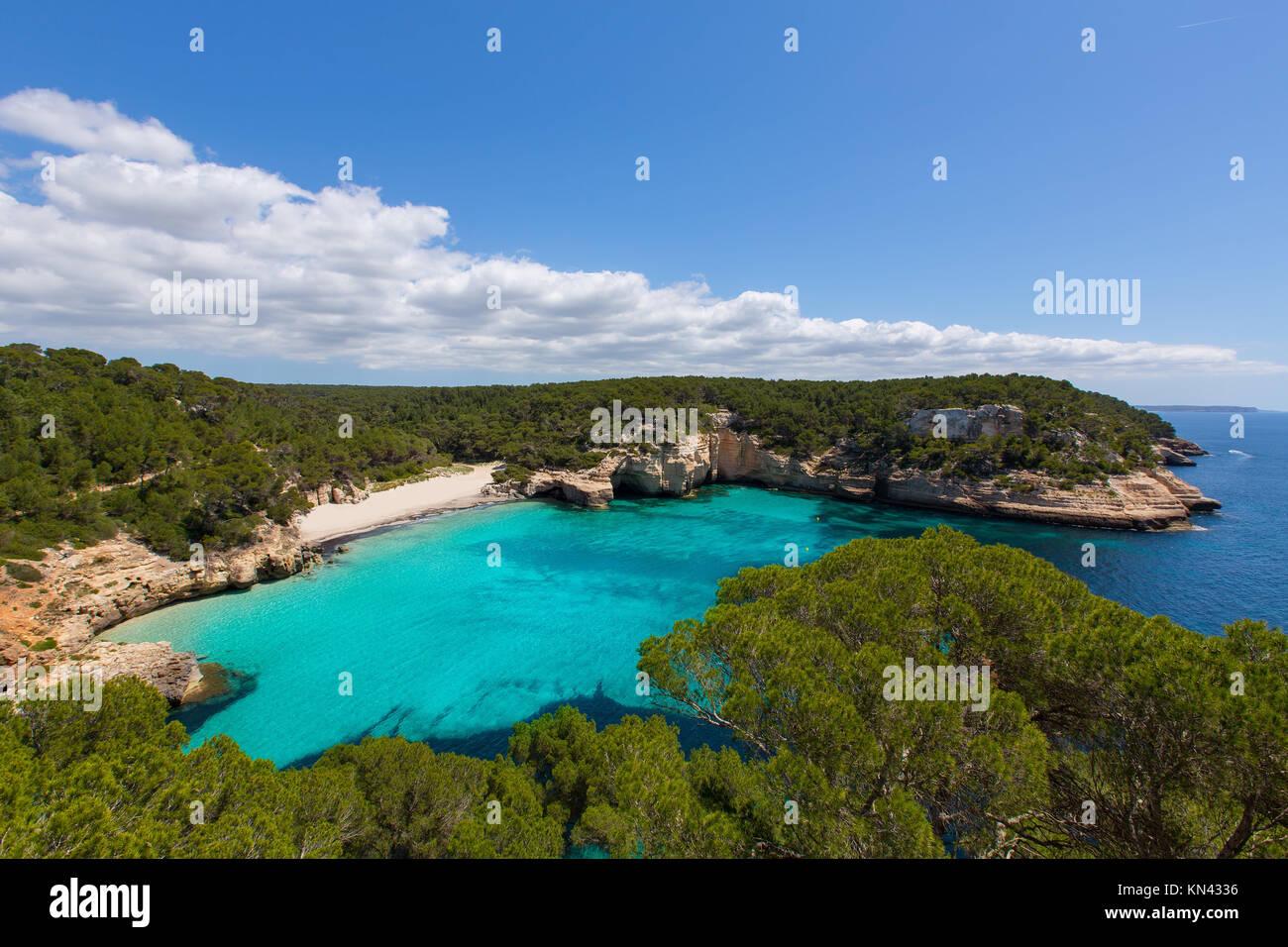 Cala Mitjaneta in Menorca Ciutadella at Balearic islands. - Stock Image