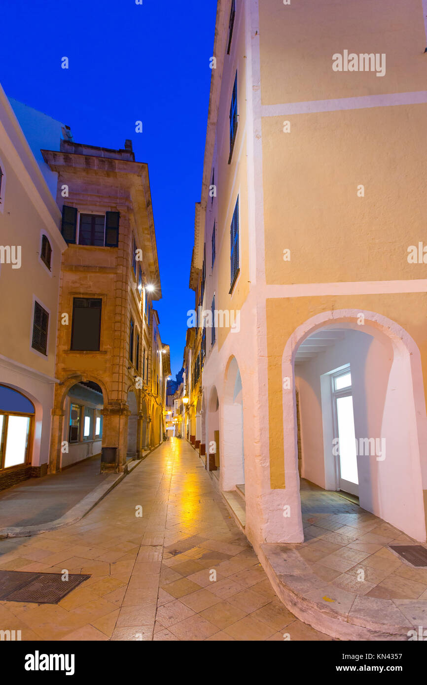 Ciutadella Menorca Ses Voltes arches Ciudadela downtown in Balearic islands. - Stock Image