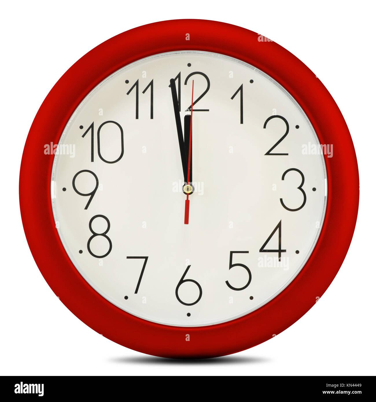 Wall clock isolated on white background. Twelve o'clock. - Stock Image