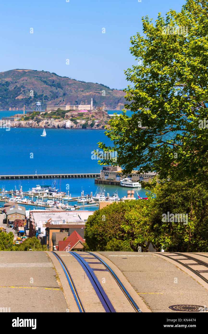 San francisco Hyde Street and Alcatraz Penitenciary California USA. - Stock Image