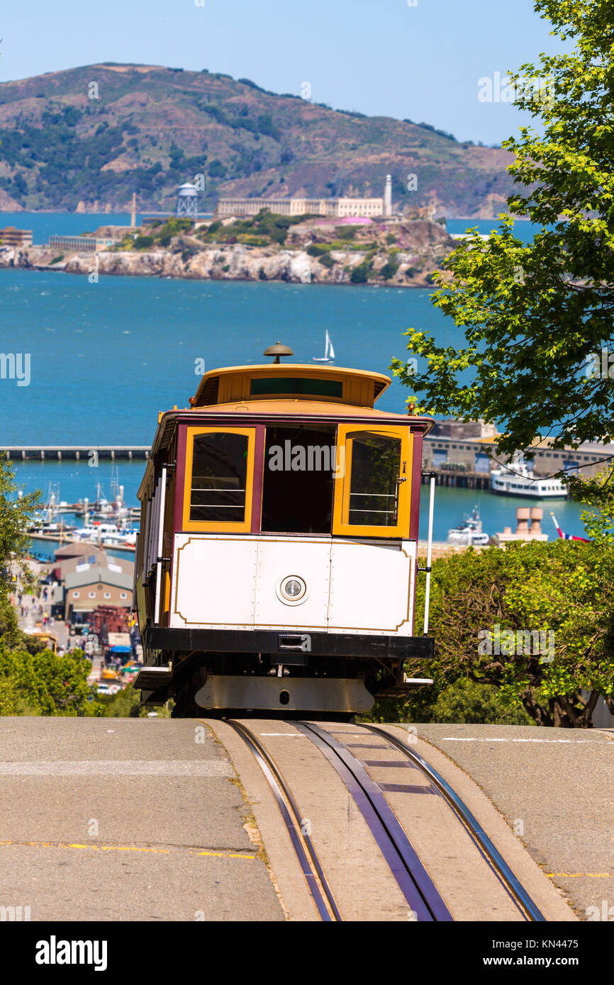 San francisco Hyde Street Cable Car Tram of the Powell-Hyde in California USA. - Stock Image