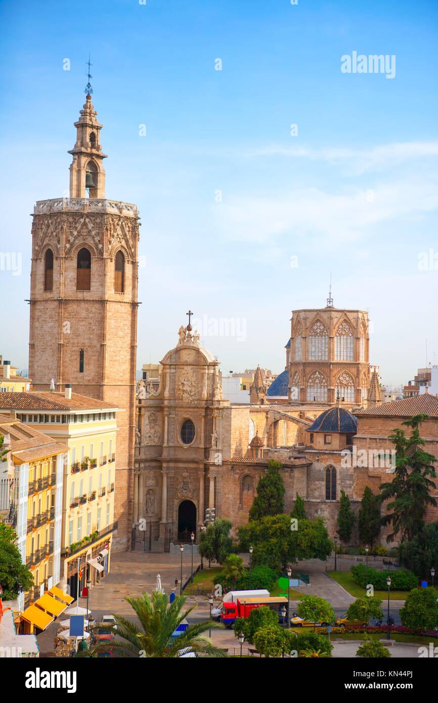 Valencia historic downtown El Miguelete and Cathedral Micalet de la Seu in spain. - Stock Photo