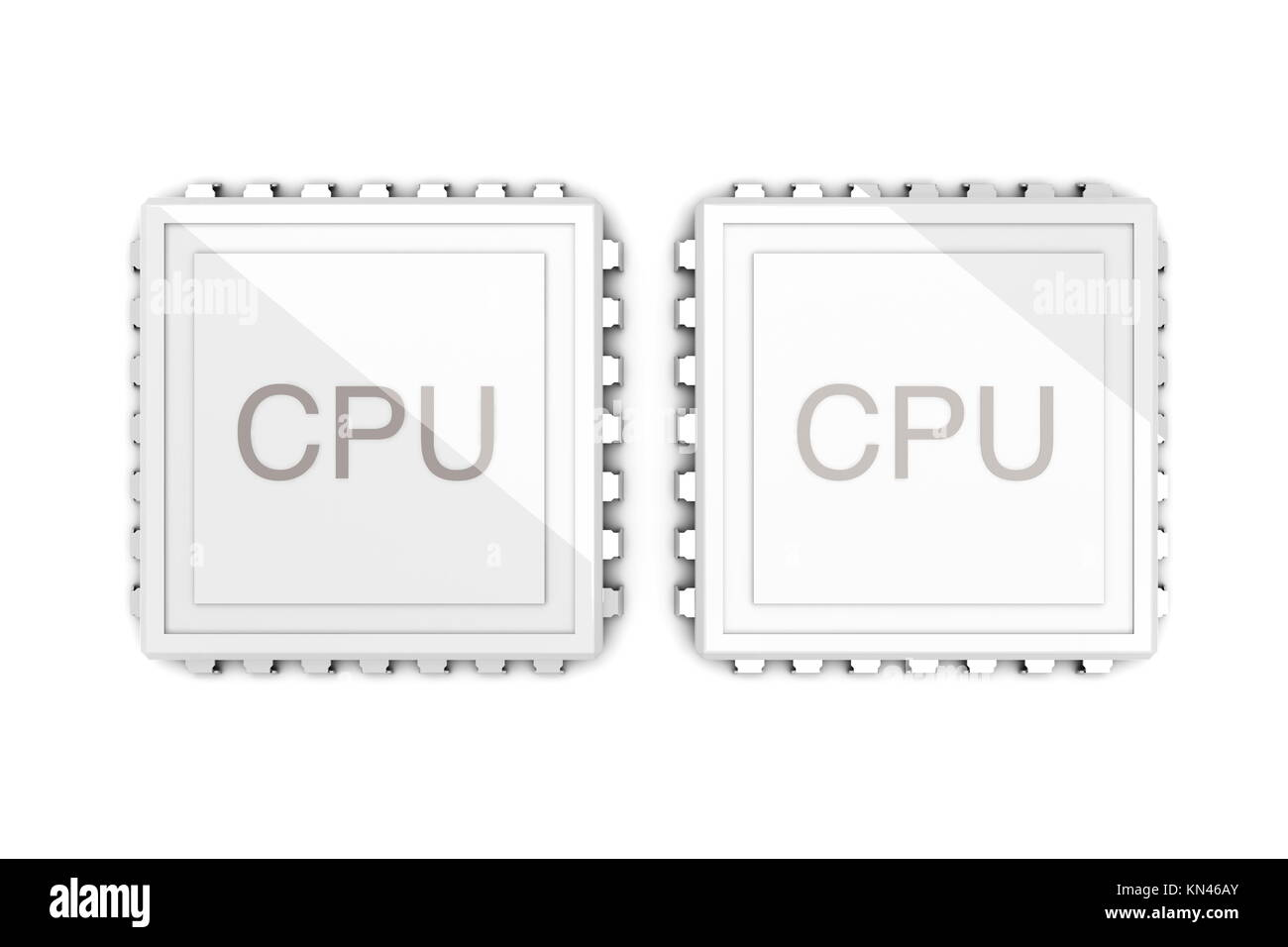 3D rendered Illustration. Two core CPU. Isolated on white. - Stock Image