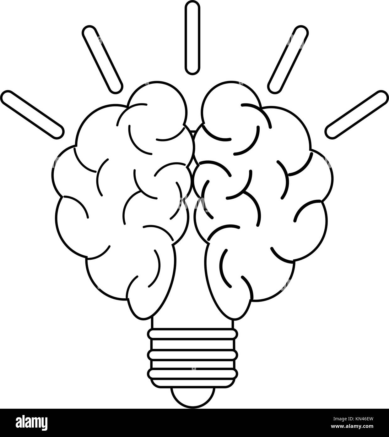 Bulb with brain - Stock Image