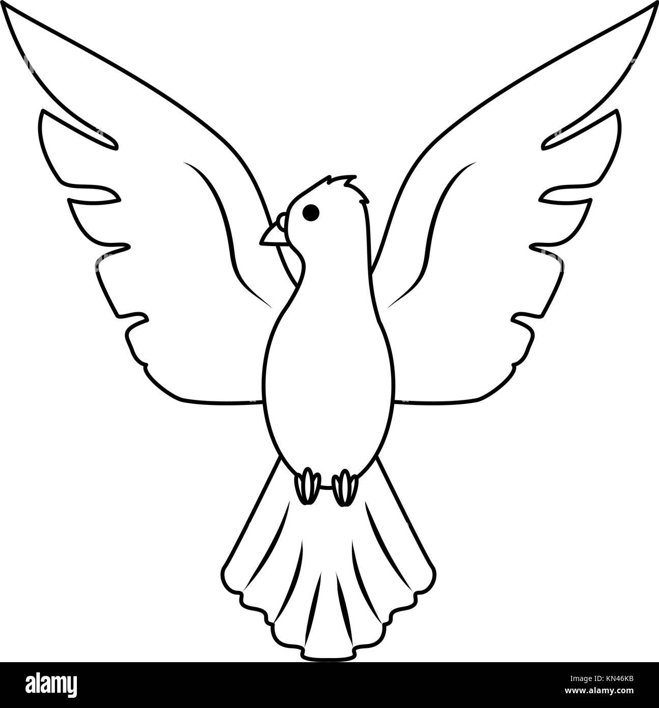 Flying bird cartoon black and white - photo#52