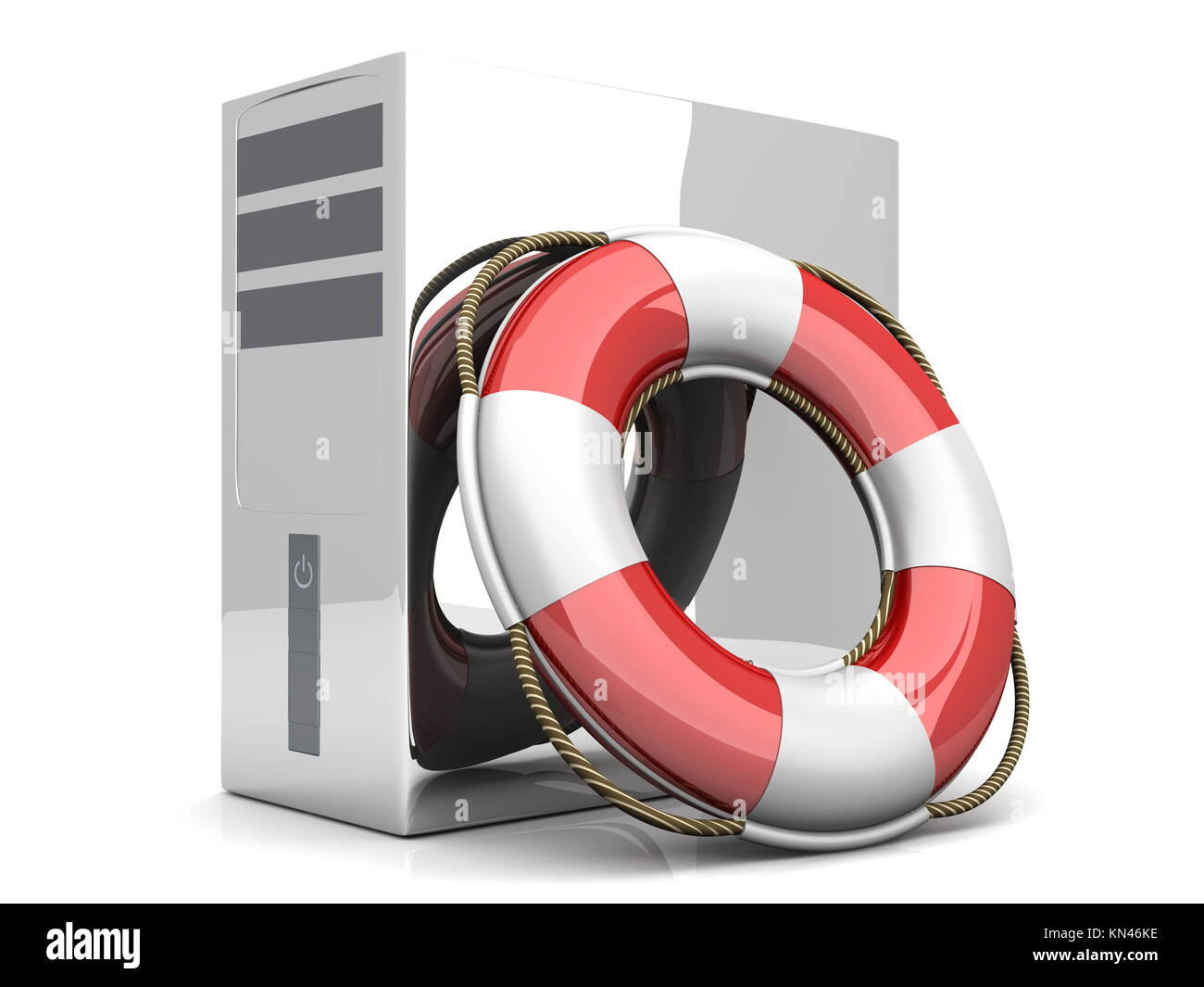 A life belt with a Desktop PC. 3d rendered Illustration. Isolated on white. Stock Photo
