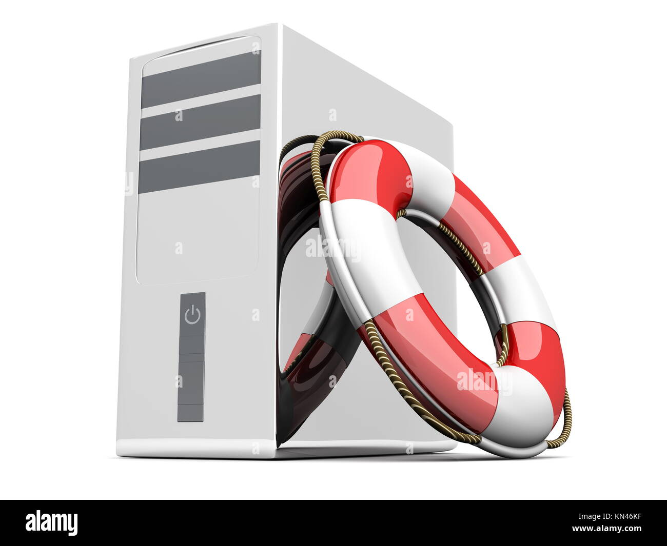A life belt with a Desktop PC. 3d rendered Illustration. Isolated on white. - Stock Image