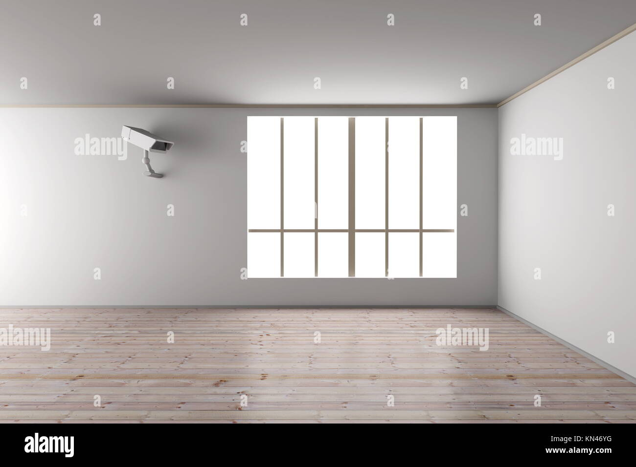Surveillance in the Living room. 3D rendered Illustration. - Stock Image
