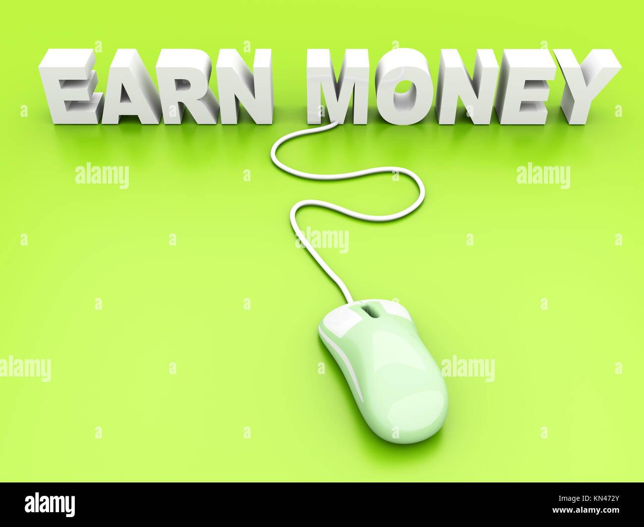 Earn Money online. 3D rendered Illustration. - Stock Image
