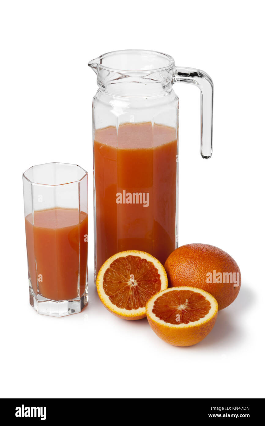 Fresh blood orange juice in a jar on white background. - Stock Image