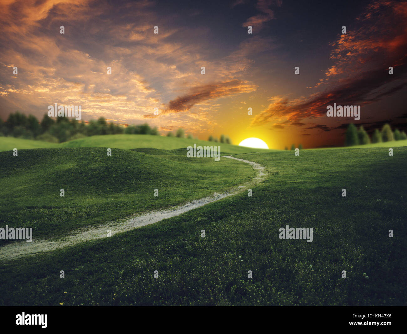 Mystical sunset over summer green hills, abstract environmental backgrounds. Stock Photo