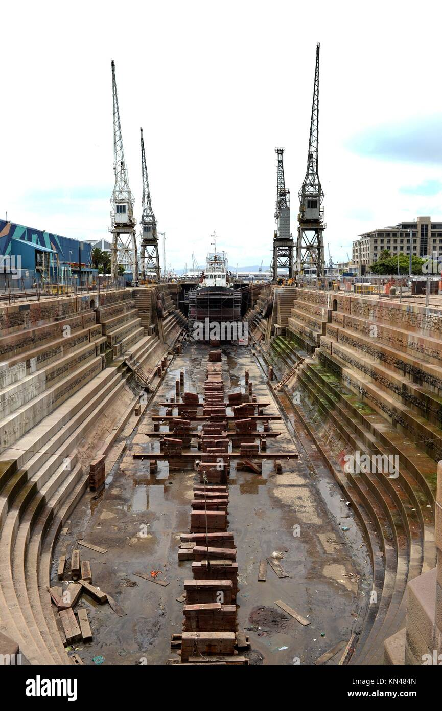 A shot of a dry dock ship yard. - Stock Image