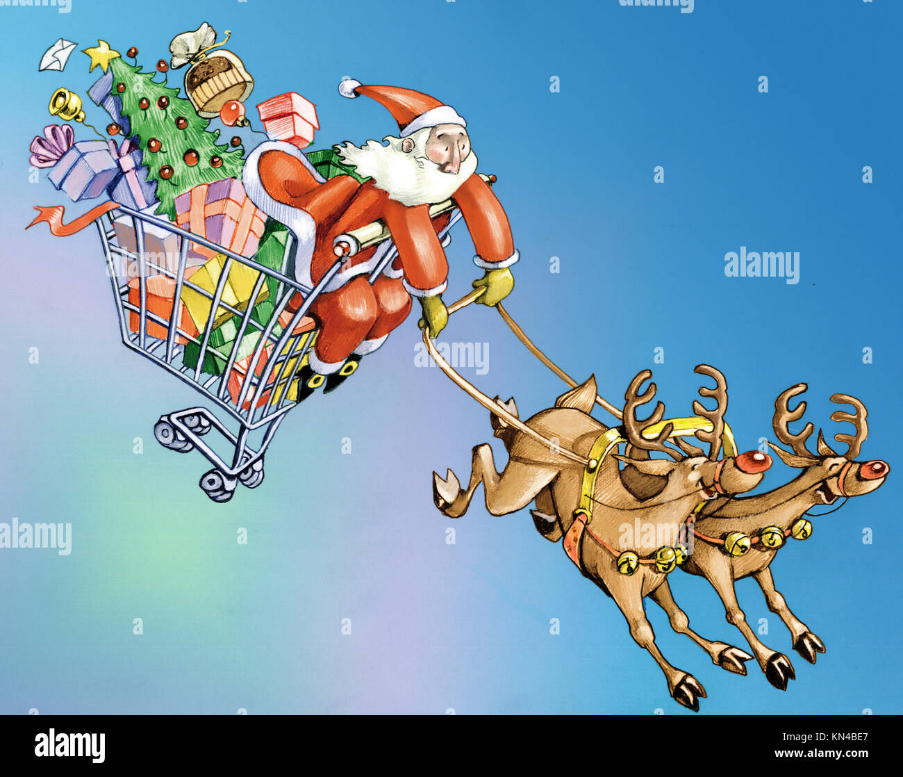 Santa Claus dragged in purchases inside a shopping cart by two crazy reindeer metaphor of consumerism - Stock Image